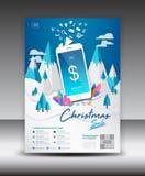 Mobil Apps reklambladmall på vinterlandskapbakgrund Orientering för design för affärsbroschyrreklamblad smartphonesymbolsmodell a vektor illustrationer