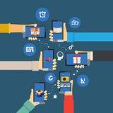 Mobil appsinfographics Fotografering för Bildbyråer