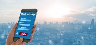 Mobil bankrörelse fotografering för bildbyråer