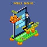 Mobil bankrörelse Isometriskt begrepp Online-betalning mobil betalning stock illustrationer