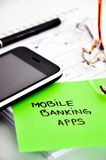 Mobil bankrörelseappsutveckling Arkivbilder