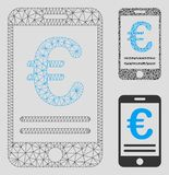 Mobil bankrörelsevektor Mesh Carcass Model för euro och mosaisk symbol för triangel stock illustrationer