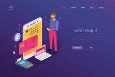 Mobil betalning, digital marknadsföring E-kommers online-shopping i mobil applikation royaltyfri illustrationer