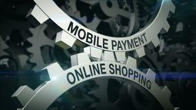 Mobil betalning för nyckelord, online-shopping på mekanismen av två kugghjul Kugghjul arkivfilmer