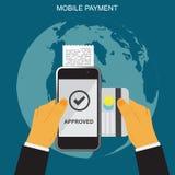 Mobil betalning, händer som rymmer smartphonen och kreditkorten, online-bankrörelse Arkivbild