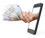 Mobil betalning med smartphone Arkivbilder
