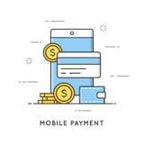 Mobil betalning, online-transaktioner och bankrörelsen vektor illustrationer