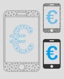 Mobil betalningvektor Mesh Carcass Model för euro och mosaisk symbol för triangel royaltyfri illustrationer