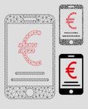 Mobil betalningvektor Mesh Network Model för euro och mosaisk symbol för triangel royaltyfri illustrationer