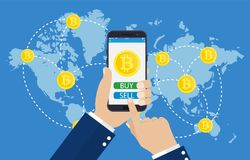 Mobil bitcoinaffär royaltyfri illustrationer