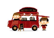 Mobil coffee shop - Skåpbil kafé begrepp Royaltyfri Illustrationer