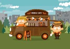 Mobil coffee shop - Skåpbil kafé begrepp Vektor Illustrationer