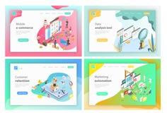 Mobil e-kommers, dataanalyshjälpmedel, kundkvarhållande som marknadsför automation royaltyfri illustrationer