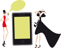 Mobil fashion and shopping girls. Talking Social communication Royalty Free Stock Photography