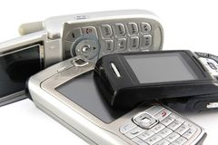 mobil gammal telefon Arkivfoton