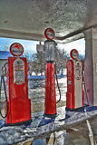 Mobil Gas Pumps 2. HDR vintage mobilgas pumps in a service station Stock Photo