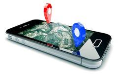 Mobil GPS-navigering Arkivbild