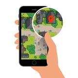Mobil gps-navigering på mobiltelefonen med översikten och stiftet Fotografering för Bildbyråer