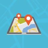 Mobil GPS navigeringapplikation Digital översikt vektor illustrationer