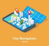 Mobil GPS stadsnavigering kartlägger isometrisk sikt för begrepp 3d vektor Fotografering för Bildbyråer