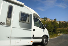 Mobil home on road in France Stock Images