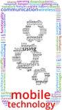 Mobil illustration för text för teknologiordmoln vektor illustrationer