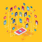 Mobil internet för social för nätverksteknologi för begrepp telefon för global kommunikation smart vektor illustrationer