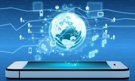 Mobil internet och applikationer från runt om royaltyfri illustrationer