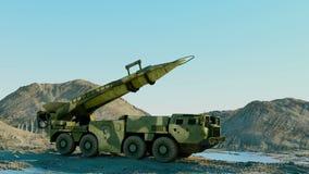 Mobil kärn- ballistisk missil Ballistisk ryss Realistisk animering royaltyfri illustrationer