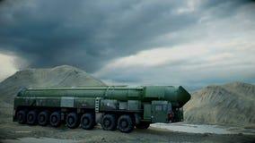 Mobil kärn- ballistisk missil Ballistisk ryss Realistisk animering vektor illustrationer