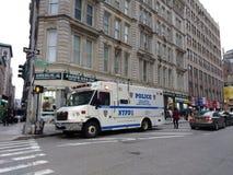 Mobil kommandomitt för polisen, NYPD-patrullstad södra Manhattan, NYC, NY, USA Arkivfoton
