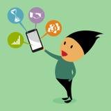 Mobil kommunikation. royaltyfri illustrationer