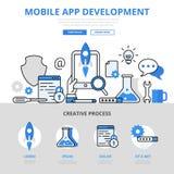 Mobil linje baner för lägenhet för app-utvecklingsbegrepp för konstvektorsymboler stock illustrationer