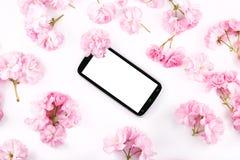Mobil mądrze telefon otaczający różowymi czereśniowymi kwiatami Zdjęcie Royalty Free