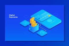 Mobil manöverenhet för betalningsystem Online-betalningbegrepp med mobiltelefonen och kreditkorten Isometrisk illustration vektor illustrationer