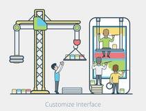 Mobil manöverenhet för linjärt plant folklagkvarter stock illustrationer