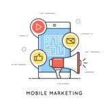 Mobil marknadsföring, e-kommers, internetadvertizing och befordran Plan linje konststilbegrepp Redigerbar slaglängd royaltyfri illustrationer
