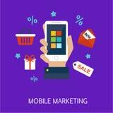 Mobil marknadsföringsbegreppskonst Fotografering för Bildbyråer