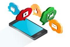 Mobil marknadsföringsillustration Vektor Illustrationer