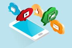Mobil marknadsföringsteckning Stock Illustrationer