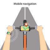 Mobil navigering i mobiltelefonen och ilar klockan royaltyfri illustrationer