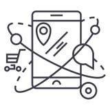 Mobil navigering, kommers, lägevektorlinje symbol, tecken, illustration på bakgrund, redigerbara slaglängder stock illustrationer