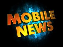 Mobil News - Gold 3D Words. Stock Image