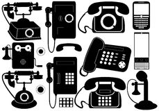 Mobil och offentliga telefoner Stock Illustrationer
