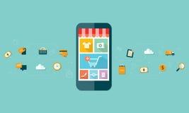 Mobil online-shopping för affär på mobil enhetbakgrund Arkivbild