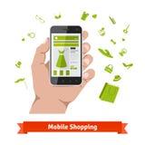Mobil online-shopping för kvinna Royaltyfria Foton