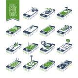 Mobil - online-sporten spelar symbolsuppsättningen stock illustrationer