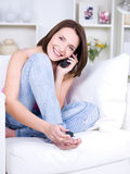 mobil pedicurekvinna Arkivfoton