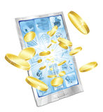mobil pengartelefon för begrepp Fotografering för Bildbyråer