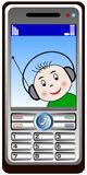 Mobil phone calling baby. Illustration of a phantasy mobil phone with a calling baby on the display. Available as Illustrator-file Royalty Free Stock Photography